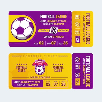 Plantilla de boleto de entrada deportiva de fútbol