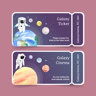 Plantilla de boleto galaxy con astronauta, planetas, ilustración acuarela de la tierra.