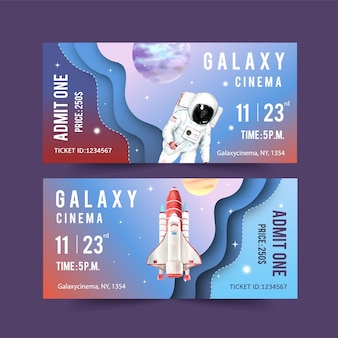 Plantilla de boleto galaxy con cohete, astronauta, ilustración de acuarela de planetas.