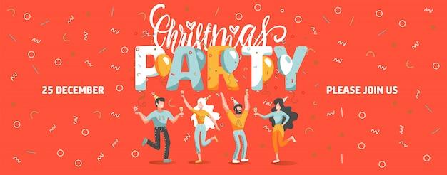 Plantilla de boleto de invitación a la fiesta de navidad con gente divertida bailando y bebiendo vino.