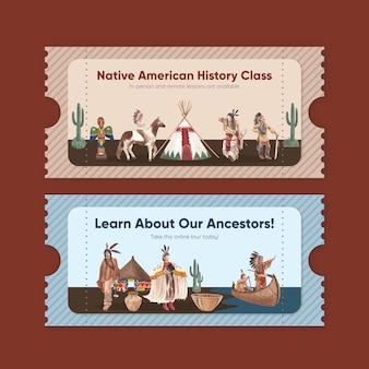 Plantilla de boleto con nativo americano en estilo acuarela.
