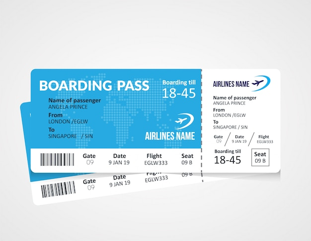 Plantilla de boleto de tarjeta de embarque de la aerolínea