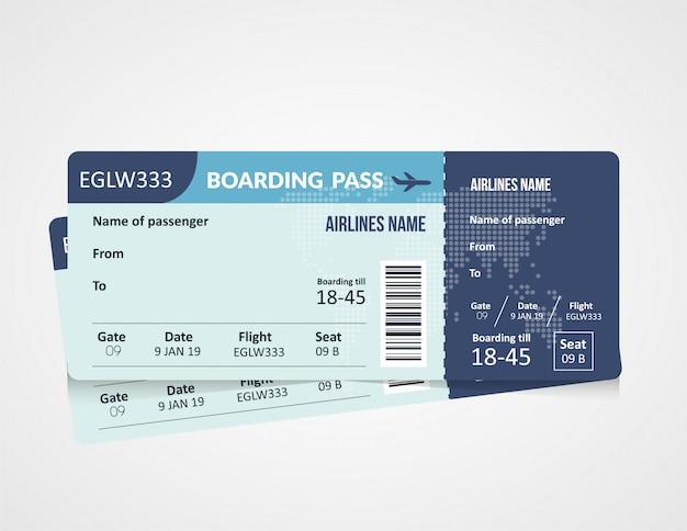 Plantilla de boleto de tarjeta de embarque de línea aérea