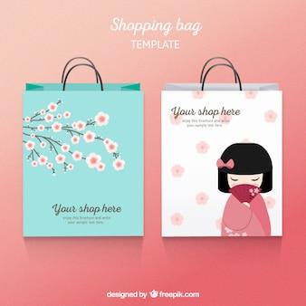 Plantilla de la bolsa de compras japonesa