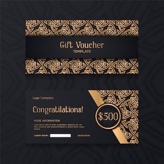 Plantilla de bono de lujo con oro y fondo negro.