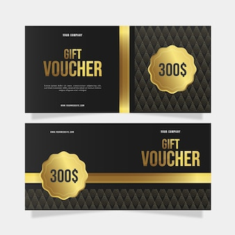 Plantilla de bono regalo dorado de 300 dólares