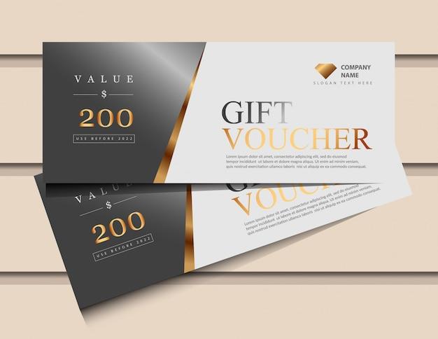 Plantilla de bono de regalo con elementos de lujo de oro brillo.