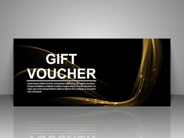 Plantilla de bono de regalo con líneas doradas luminosas.
