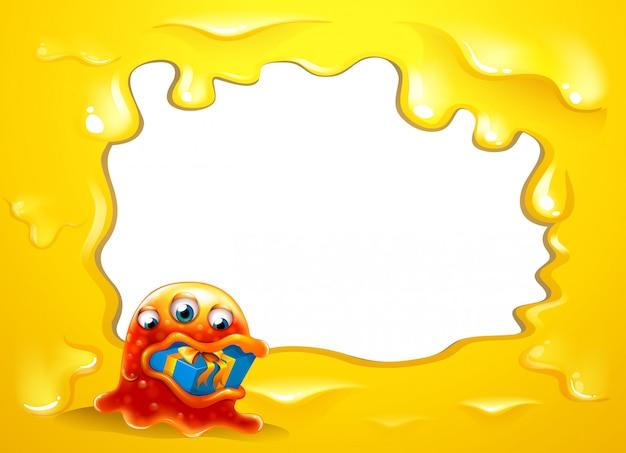 Una plantilla de borde amarillo con un monstruo tragándose un regalo