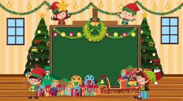 Plantilla de borde con árbol de navidad y duendes