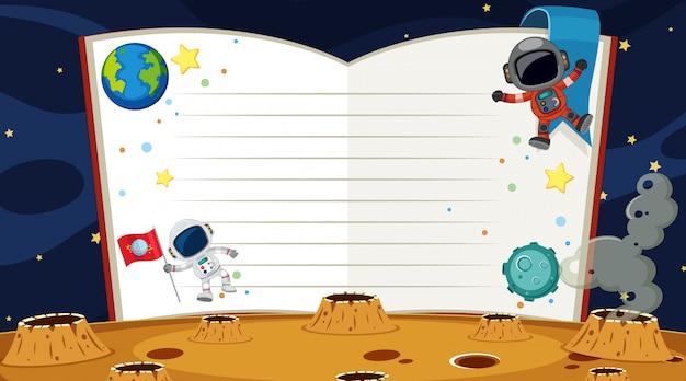 Plantilla de borde con astronauta en el fondo del espacio