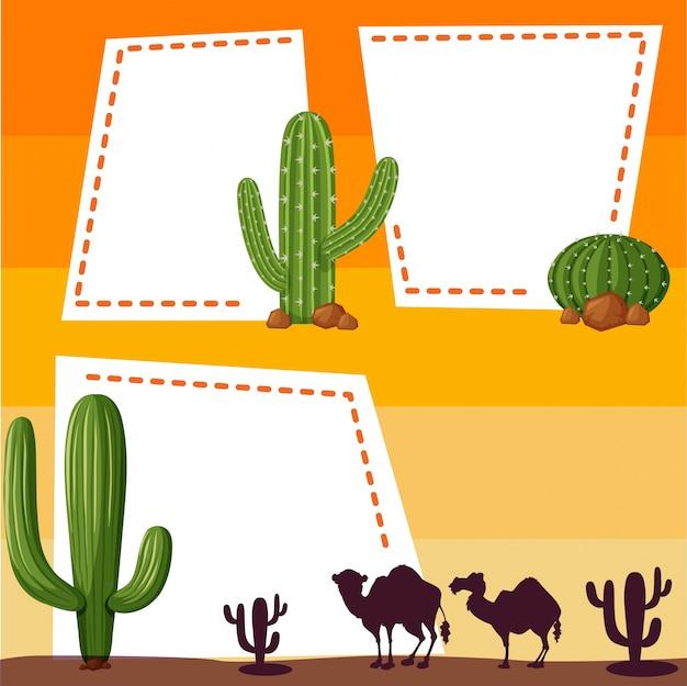 Plantilla de borde con camellos de silueta