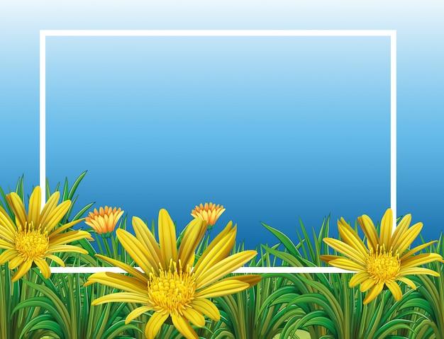 Plantilla de borde con campo de flores