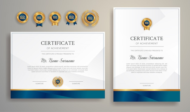 Plantilla de borde de certificado de apreciación azul y oro con insignias de lujo
