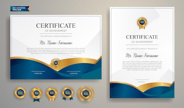 Plantilla de borde de certificado azul y oro con insignia de lujo y patrón de línea moderna. para premios, negocios y necesidades educativas