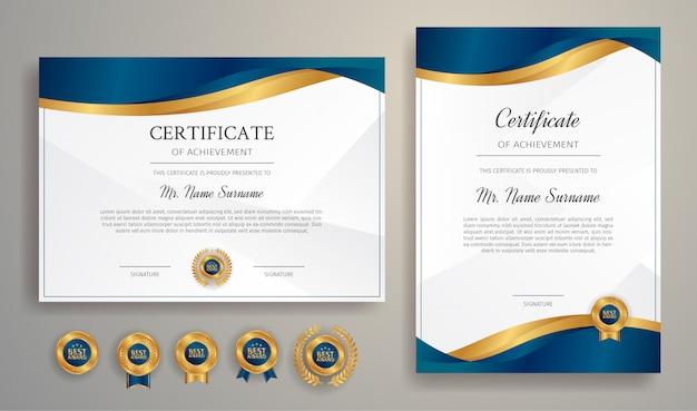 Plantilla de borde de certificado con color de lujo e insignias