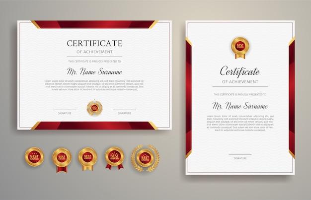 Plantilla de borde de certificado de logro rojo y dorado
