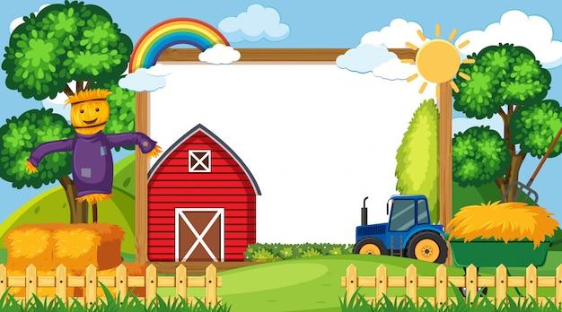 Plantilla de borde con escena de granja