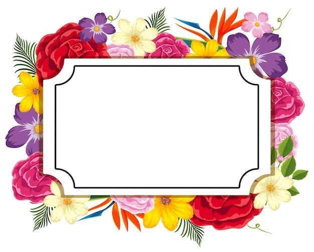 Plantilla de borde con flores de colores