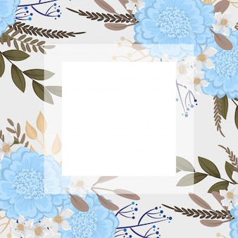 Plantilla de borde de flores flores de color azul claro