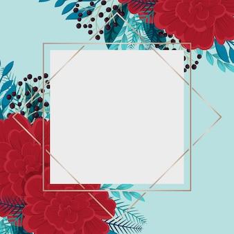 Plantilla de borde de flores