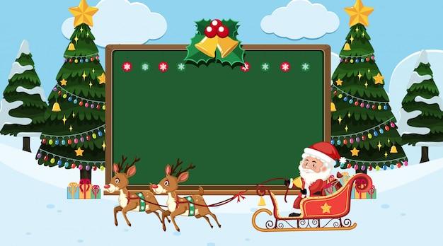 Plantilla de borde con fondo de tema de navidad