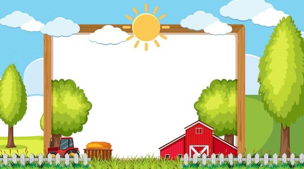 Plantilla de borde con granero y tractor en la granja