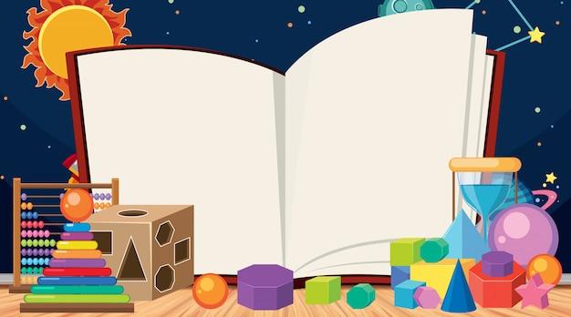 Plantilla de borde con juguetes de bloque y fondo de espacio