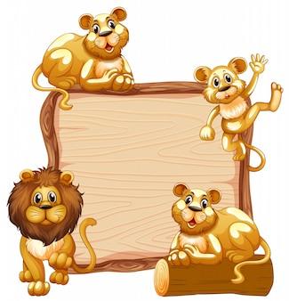 Plantilla de borde con linda familia de leones