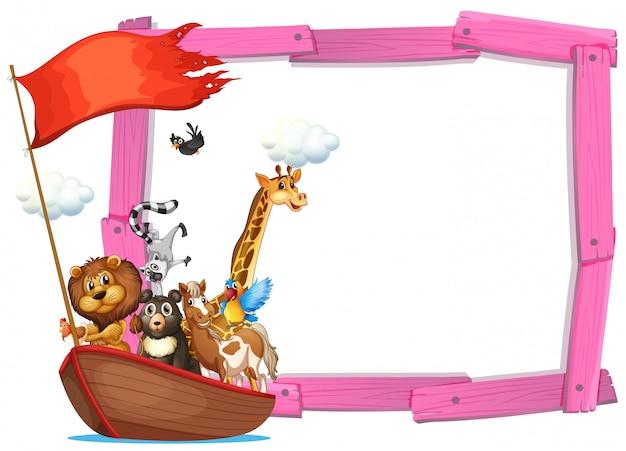 Plantilla de borde con lindos animales en barco