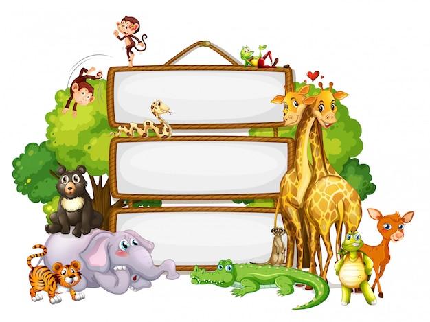 Plantilla de borde con lindos animales