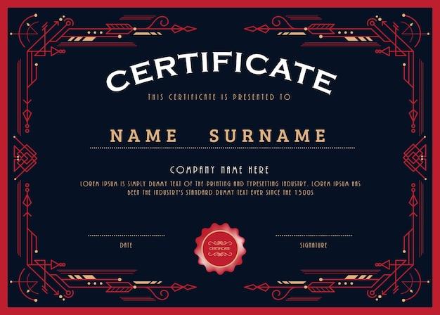 Plantilla de borde de marco art deco de línea de diseño de certificado