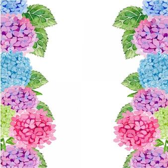 Plantilla de borde de marco de flor de hortensias acuarela