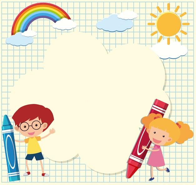Plantilla de borde con niños y lápices de colores