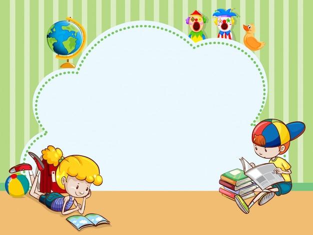 Plantilla de borde con niños leyendo libros