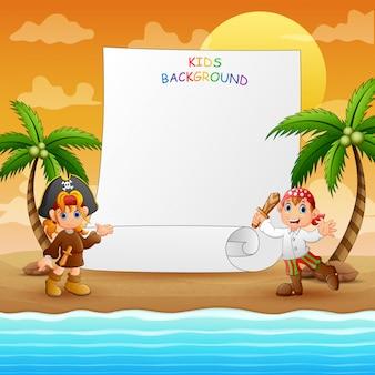 Plantilla de borde con pirata en la playa