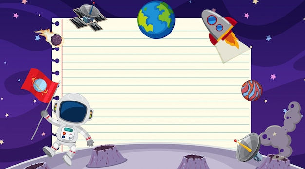 Plantilla de borde con tema espacial en segundo plano