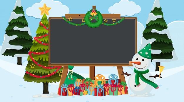 Plantilla de borde con tema de navidad en segundo plano