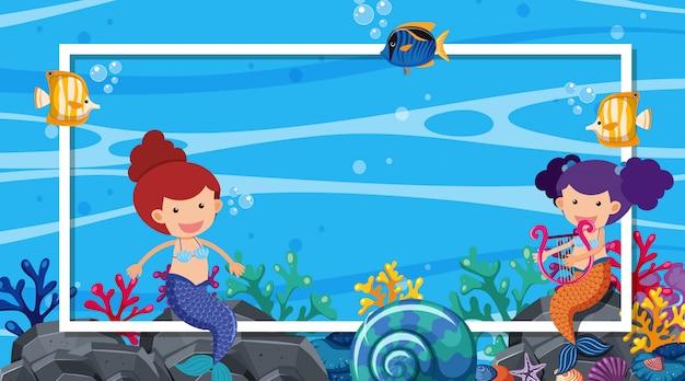 Plantilla de borde con tema de océano en segundo plano