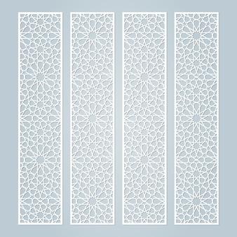 Plantilla de bordes cortada con láser con patrón islámico.