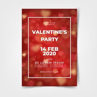 Plantilla borrosa de flyer / póster de fiesta de san valentín