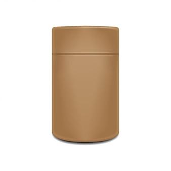 Plantilla de bote de papel artesanal. colección de paquetes realistas. té, café, dulces envases marrones