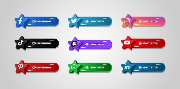Plantilla de botones de nombre de usuario de redes sociales