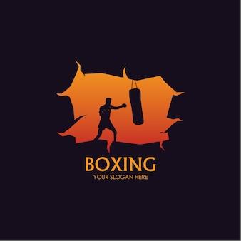 Plantilla de boxeo de logotipo plano