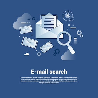 Plantilla de búsqueda de correo electrónico web banner con espacio de copia
