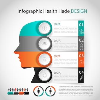 Plantilla de cabeza de diseño de infografía médica. diseño gráfico o de sitio web