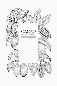 Plantilla de cacao fondo de granos de cacao chocolate. ilustración dibujada a mano. ilustración de estilo vintage