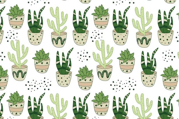 Plantilla de cactus patrón dibujado a mano