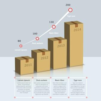 Plantilla de caja de cartón infografía crecimiento
