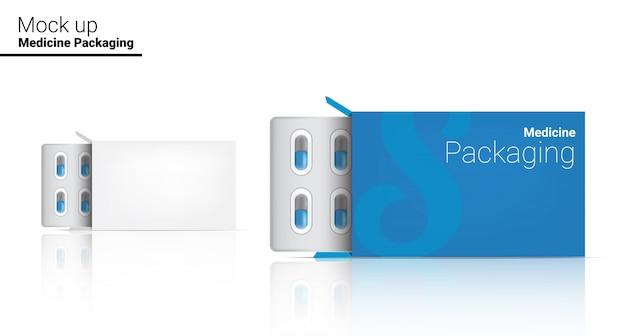 Plantilla de caja realista píldora medicina panel de embalaje. concepto médico y de salud de las tabletas.